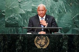 Prime Minister Josaia Voreqe Bainimarama of Fiji addresses the United Nations General Assembly 20 September 2016 (Photo: Reuters/Eduardo Munoz)