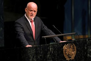 Peter Thomson, Permanent Representative of Fiji to the United Nations, addresses the UN General Assembly after being elected as General Assembly President for the 71st session at UN headquarters in Manhattan, New York, 13 June 2016 (Photo: Reuters/Mike Segar).