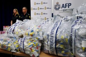 The Australian Border force displaying their largest haul of illicit drugs in two years on 15 February, 2016 (Photo: Reuters/Jason Reed).