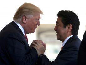 Japanese Prime Minister Shinzo Abe is greeted by US President Donald Trump in Washington, US. (Photo: Reuters/Joshua Roberts)