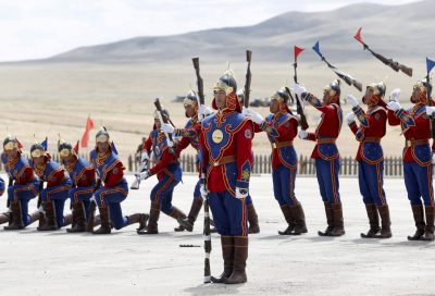 Mongolian guards of honour perform during the opening ceremony of Khaan Quest 2015, an annual multilateral military exercise, at a military training centre, near Ulaan Bator in Mongolia, 20 June 2015 (Photo: Reuters/B. Rentsendorj).