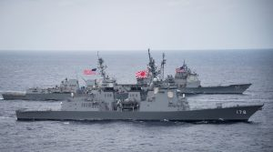 The Japan Maritime Self-Defense Force destroyer JS Ashigara (front), the U.S. Navy Arleigh Burke-class guided-missile destroyer USS Wayne E. Meyer and the Ticonderoga-class guided-missile cruiser USS Lake Champlain transit the Philippine Sea 28 April 2017. U.S. Navy/Mass Communication Specialist 2nd Class Z.A. Landers (Photo: Reuters).