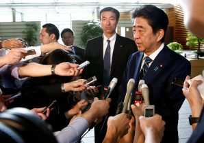 Japan's Prime Minister Shinzo Abe speaks to reporters as he arrives at his office in Tokyo, Japan, 3 July 2017 (Photo: Reuters/Kim Kyung-Hoon).