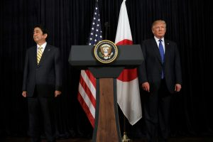 US President Donald Trump and Japanese Prime Minister Shinzo Abe leave after delivering remarks on North Korea at Mar-a-Lago club in Palm Beach, Florida, US, 11 February 2017. (Photo: Reuters/Carlos Barria).
