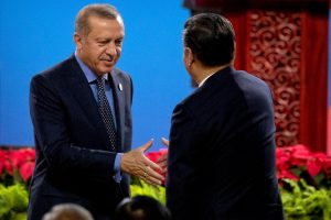 Turkey's President Tayyip Erdogan shakes hands with Chinese President Xi Jinping after Erdogan spoke during the opening ceremony of the Belt and Road Forum at the China National Convention Center (CNCC) in Beijing, 14 May 2017. (Photo: Reuters/Mark Schiefelbein).