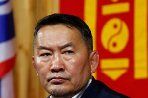 Khaltmaa Battulga, the presidential candidate of the opposition Democratic Party addresses reporters in Ulaanbaatar, Mongolia, 8 July 2017 (Photo: Reuters/Rentsendorj Bazarsukh).