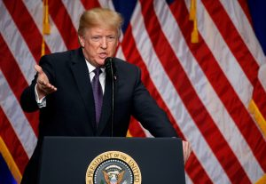 US President Donald Trump delivers remarks regarding the Administration's National Security Strategy at the Ronald Reagan Building and International Trade Center in Washington DC, US 18 December, 2017. (Photo: Reuters/Joshua Roberts).