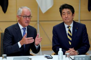 Australia's Prime Minister Malcolm Turnbull talks with his Japanese counterpart Shinzo Abe during a meeting of Japan's National Security Council at Abe's official residence in Tokyo, Japan 18 January 2018. (Photo: Reuters/Shizuo Kambayashi).