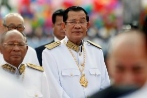 Cambodia's Prime Minister Hun Sen attends the celebration marking the 64th anniversary of the country's independence from France, Phnom Penh, Cambodia, 9 November 2017 (Photo: Reuters/Samrang Pring).