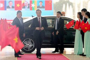China's State Councilor and Foreign Minister Wang Yi arrives at the National Convention Center during the Mekong Greater Sub-Region Summit in Hanoi, Vietnam, 31 March 2018 (Photo: Minh Hoang/Pool via Reuters).