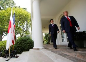 Japan's Prime Minister Shinzo Abe and US President Donald Trump arrive for a joint news conference in the Rose Garden of the White House in Washington DC, 7 June 2018 (Photo: Reuters/Carlos Barria).