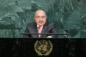 Prime Minister of Papua New Guinea Peter O'Neill addresses the 72nd United Nations General Assembly at the UN headquarters in New York, United States, 23 September 2017 (Photo: Reuters/Eduardo Munoz).
