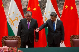 Chinese President Xi Jinping with Tajikistan's President Emomali Rahmon attend the signing ceremony during their meeting at the Great Hall of the People in Beijing, China, 31 August 2017 (Photo: Reuters/Roman Pilipey/Pool).