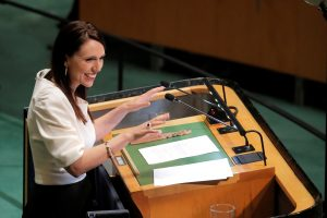 New Zealand's Prime Minister Jacinda Ardern addresses the 73rd session of the United Nations General Assembly at UN headquarters in New York, US, 27 September 2018 (Photo: Reuters/Caitlin Ochs).