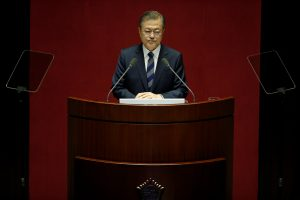 South Korean President Moon Jae-in delivers his speech on the government's 2019 budget proposal during a plenary session at the National Assembly in Seoul, South Korea, 1 November 2018 (Photo: Reuters/Kim Hong-Ji/Pool).