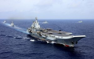 China's aircraft carrier Liaoning takes part in a military drill of Chinese People's Liberation Army (PLA) Navy in the western Pacific Ocean, 18 April 2018 (Photo: Reuters/Stringer).