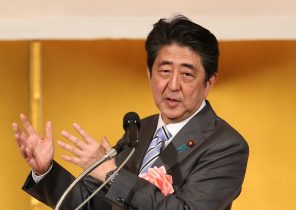 Japanese Prime Minister ShinzoAbedelivers a speech at abusinessleaders' New Year party at a hotel in Tokyo, Japan, 7 January 2019 (Photo: AFLO via Reuters/Yoshio Tsunoda).