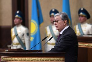 Acting President of Kazakhstan Kassym-Jomart Tokayev delivers a speech as he takes part in a swearing-in ceremony during a joint session of the houses of parliament in Astana, Kazakhstan, 20 March 2019 (Photo: Reuters/Kazakh Presidential Press Service).
