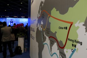 """A map illustrating China's silk road economic belt and the 21st century maritime silk road, or the so-called """"One Belt, One Road"""" megaproject, is displayed at the Asian Financial Forum in Hong Kong, China 18 January 2016. (Photo: REUTERS/Bobby Yip)"""