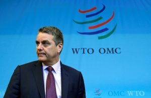 Roberto Azevedo, Director-General of the World Trade Organization (WTO) arrives for the General Council meeting at the WTO in Geneva, Switzerland, 26 July, 2018. REUTERS/Denis Balibouse