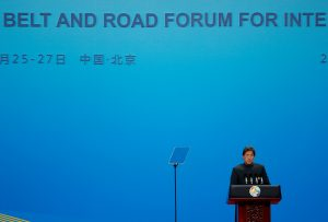 Pakistani Prime Minister Imran Khan delivers a speech at the opening ceremony for the second Belt and Road Forum in Beijing, China, 26 April 2019. (Photo: Reuters/Florence Lo).