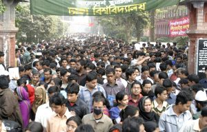 Thousands of students exit the campus of Dhaka University in Dhaka, Bangladesh (Photo: Reuters/Rafiqur Rahman).