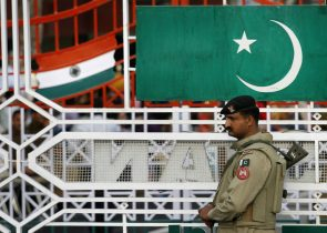 A Pakistani ranger stands during a daily parade at the Pakistan–India joint check post at Wagah border, on the outskirts of Lahore, Pakistan, 26 February 2010 (Photo: Reuters/Mohsin Raza).