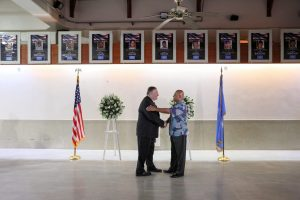 U.S. Secretary of State Mike Pompeo shakes hands with Federated States of Micronesia President David Panuelo after they placed wreaths at a memorial to fallen Micronesians who served in the U.S. military, at Pohnpei International Airport in Kolonia, Federated States of Micronesia 5 August 2019 (Photo: Reuters/Jonathan Ernst).
