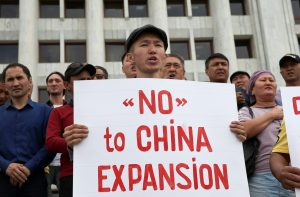 People protest against the construction of Chinese factories inKazakhstanduring a rally in Almaty,Kazakhstan, 4 September 2019 (Photo: Reuters/Pavel Mikheyev).
