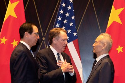 United States Trade Representative Robert Lighthizer with Chinese Vice Premier Liu He with Treasury Secretary Steven Mnuchin at the Xijiao Conference Center in Shanghai, China, 31 July 2019 (Photo: Reuters/Ng Han Guan/Pool).