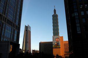 Nan Shan Plaza and Taiwan's landmark building Taipei 101 are seen during sunset in Taipei, Taiwan, 27 July 2017 (Photo: Reuters/Tyrone Siu).