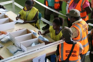 Officials count ballots in Buka, Bougainville, Papua New Guinea, in this undated picture obtained December 11, 2019 (Photo: Reuters/Jeremy Miller).