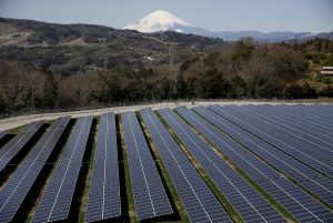 Solar panels are seen at a solar power facility as snow covered Mount Fuji is background in Nakai town, Kanagawa prefecture, Japan, 1 March, 2016 (Reuters/Kato).