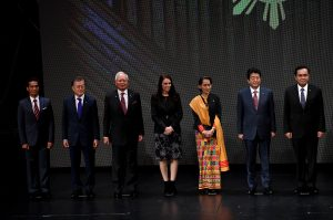 Timor Leste designated Representative Aurelio Gutteres, South Korea's President Moon Jae-In, Malaysia's former Prime Minister Najib Razak, New Zealand's Prime Minister Jacinda Ardern, Myanmar's State Councellor and Foreign Minister Aung San Suu Kyi, Japan's Prime Minister Shinzo Abe, Thailand's Prime Minister Prayut Chan-O-Cha, during the Opening ceremony of the 31st ASEAN Summit in Cultural Center of the Philippines (CCP) in Manila, Phillipines, 13 November 2017 (Photo: Reuters/Noel Celis/Pool).