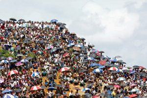 Rohingya refugees gather to mark the second anniversary of the exodus at the Kutupalong camp in Cox's Bazar,Bangladesh, 25 August 2019 (Photo: Reuters/Rafiqur Rahman).