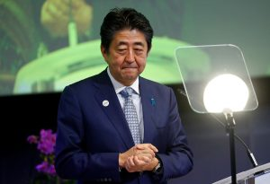 Japan's Prime Minister Shinzo Abe speaks at the conference Communication Connecting Europe and Asia, in Brussels, Belgium, 27 September 2019 (Photo: Reuters/Francois Lenoir).