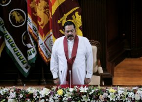 Sri Lanka's former leader Mahinda Rajapaksa, who was appointed as the new Prime Minister, looks on during the swearing in ceremony in Colombo, Sri Lanka, 21 Novermber 2019 (Photo: Reuters/Dinuka Liyanawatte).
