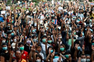 Thai students protest against a court's decision that dissolved the country's second largest opposition Future Forward party, less than a year after an election to end direct military rule, at Kasetsart University in Bangkok, Thailand, 29 February 2020 (Photo: REUTERS/Soe Zeya Tun).