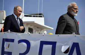 Russian President Vladimir Putin visits Zvezda shipyard during a meeting with Indian Prime Minister Narendra Modi ahead of the Eastern Economic Forum in Vladivostok, Russia, 4 September 2019 (Photo: Alexander Nemenov/Pool via Reuters).