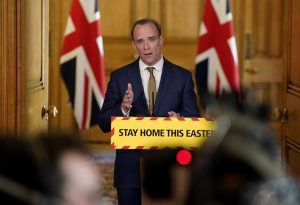 Foreign Secretary Dominic Raab holds the COVID-19 Digital Press Conference at 10 Downing Street, London, UK, 13 April 2020. there are already 11,329 deaths caused by COVID-19 (Photo: ReutersLatin/ America News Agency).