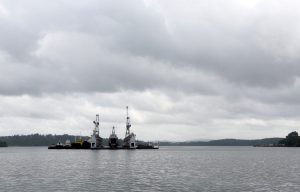 A floating dock of the Indian navy is pictured at the naval base at Port Blair in Andaman and Nicobar Islands, India, 1 July 2015 (Photo: Reuters/Sanjeev Miglani).