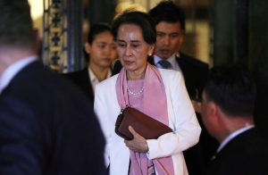 Myanmar's leader Aung San Suu Kyi leaves the International Court of Justice (ICJ), the top United Nations court, after court hearings in a case filed by Gambia against Myanmar alleging genocide against the minority Muslim Rohingya population, in The Hague, Netherlands 12 December, 2019 (Photo: Reuters/Eva Plevier).