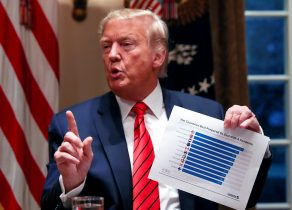 US President Donald Trump talks about preparedness to confront the coronavirus outbreak in the Cabinet Room of the White House in Washington, 27 February 2020 (Photo: Reuters/Leah Millis).