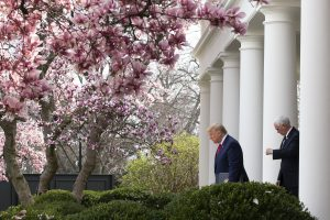 United States President Donald J Trump, left, and United States Vice President Mike Pence arrive to a news conference in the Rose Garden at the White House in Washington DC, United States, 13 March 2020 (Photo: Reuters/Stefani Reynolds).