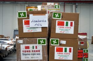 Warehouse with scarce medical supplies donated by China to Italy. Milan, Italy on 27 March 2020 (Photo: Maurizio Maule/IPA/ABACAPRESS.COM via REUTERS).