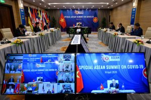 Vietnam's Prime Minister Nguyen Xuan Phuc addresses a special video conference on COVID-19 with leaders of ASEAN countries, 14 April 2020 (Photo: Reuters/Manan Vatsyayana).