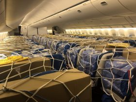 A passenger plane filled with vital PPE from Singapore bound for London for the NHS, 22 April 2020 (Photo: Reuters/ Charles Price).