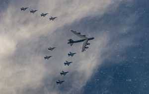 A US Air Force B-52H Stratofortress from Minot Air Force Base, N.D. and six F-16 Fighting Falcon from Misawa Air Base, Japan conducted bilateral joint training with four Japan Air Self-Defense Force F-2 off the coast of Northern Japan, 4 Feb 2020 (Photo: Reuters via USAF Staff Sgt Melanie A Bulow-Gonterman).