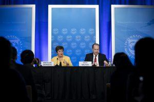 IMF Managing Director Kristalina Georgieva and World Bank President David Malpass attend a press conference in Washington DC, the United States, 4 March 2020 (Photo: Liu Jie/Latin America News Agency via Reuters).