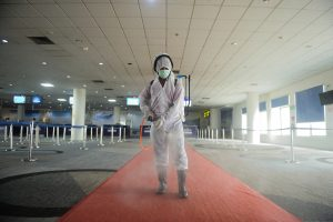 Indonesian airport officer conducted the disinfectant while 547 Indonesian workers arrived at Kualanamu international airport in North Sumatra province, Indonesia on 9 April, 2020 (Photo: Reuters/Aditya).